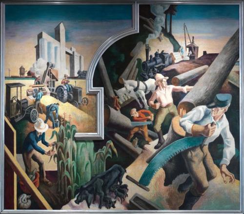 Art review thomas hart benton s america today mural for America today mural